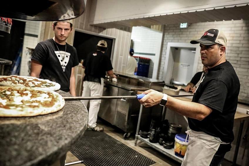 Marra Forni Neapolitan Brick Oven Client Carne Rosso Cooking Pizza