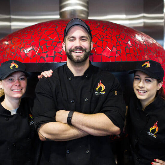 Marra Forni Rotator Brick Oven Client PizzaFire Pose For A Team Picture