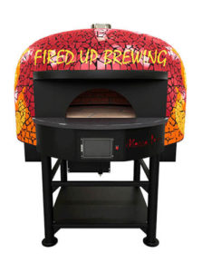 Red and Yellow Rotating Brick Oven From Fired Up Brewing