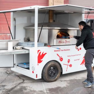 electric food truck with wood fired brick oven