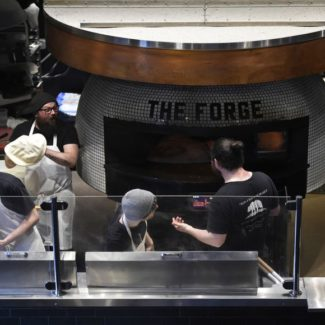"Huge Rotator Brick Oven named ""The Forge"" at the Blind Pig Restaurant"