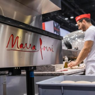 Metal Marra Forni Logo at NRA with pizza dough balls and pizzaiolo