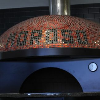 Moroso Wood Fired Pizzeria with shiny red patterned neapolitan marra forni brick oven